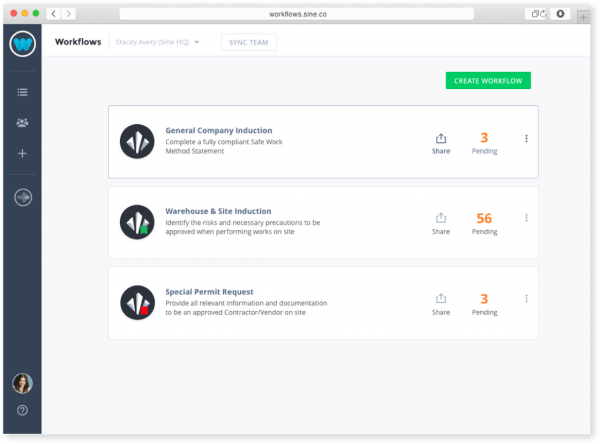 Example workflows on dashboard