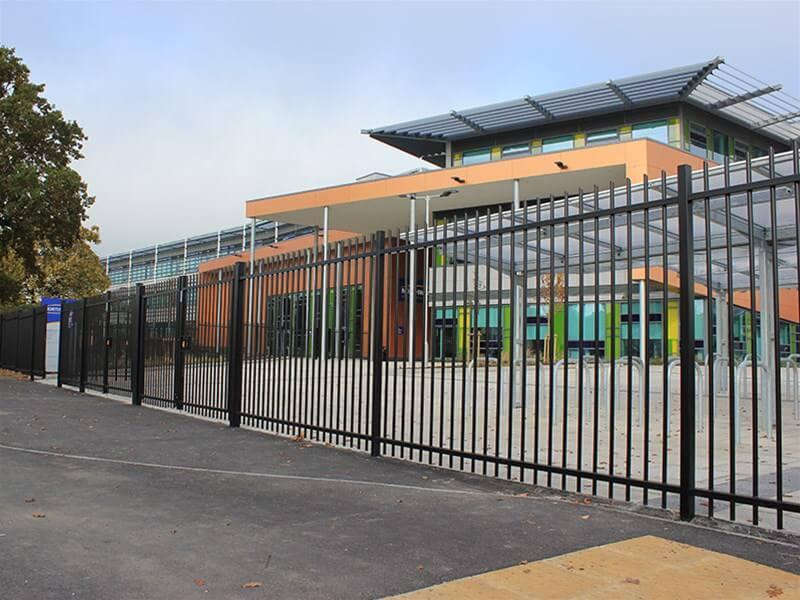Black fence around a school