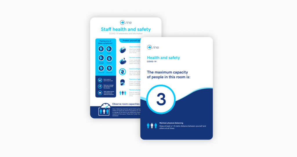 Site poster showing capacity limit on a room to help manage a healthy return to work