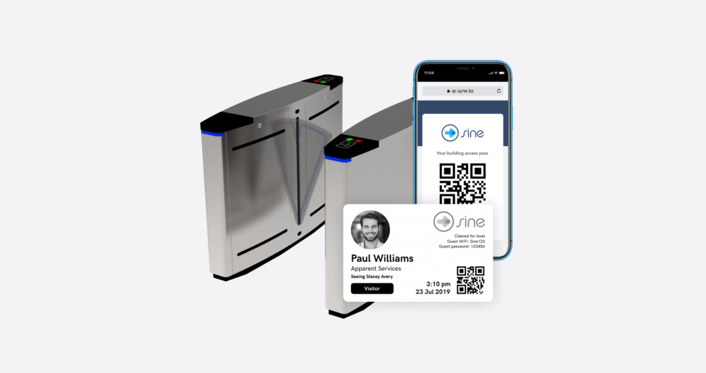 access control gates managed with bluetooth credentials from Sine