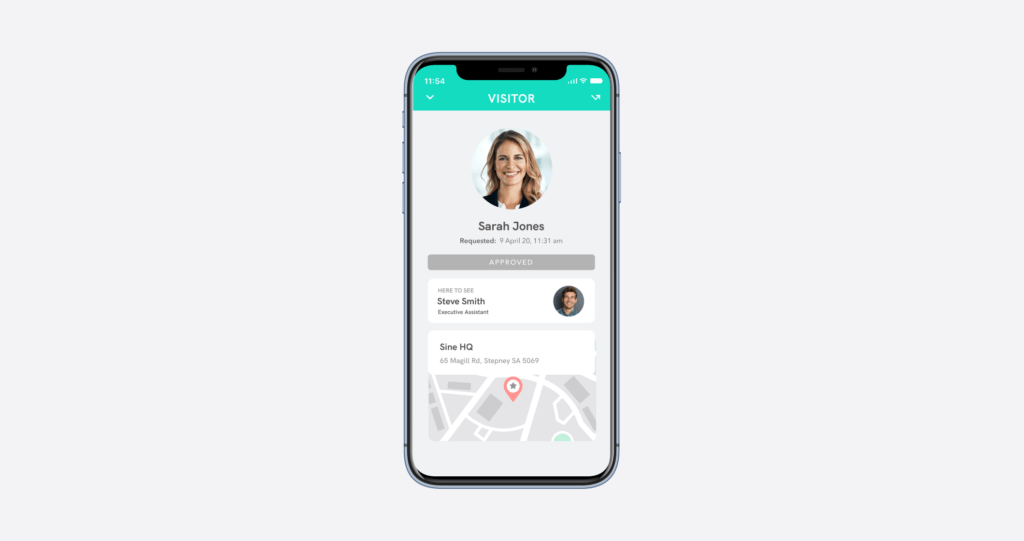 paperless visitor badge system using the sine pro app